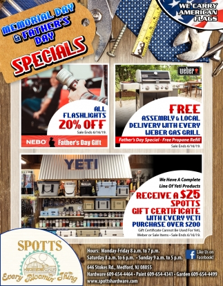 Memorial Day & Father's Day Specials