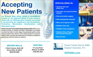 Accepting New Patients, Ocean County Foot & Ankle Surgical