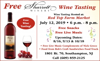 Free Sharrott Wine Tasting