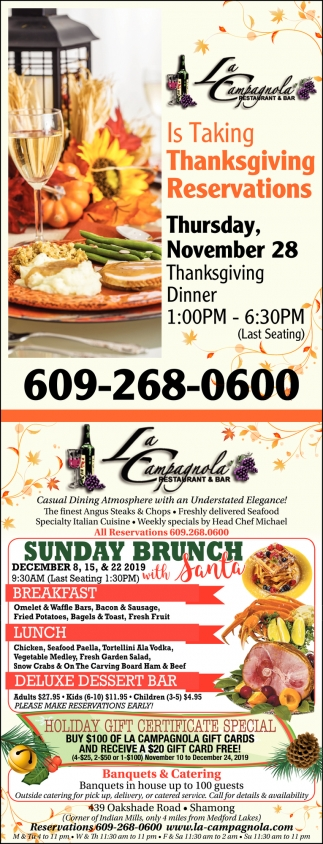 Is Taking Thanksgiving Reservations