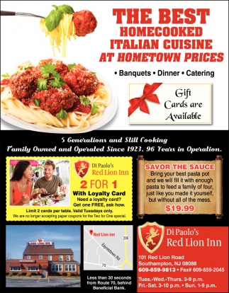 The Best Homecooked Italian Cuisine At Hometown Prices