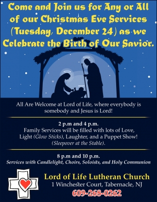 Come And Join Us For Any Or All Of Our Christmas Eve Service
