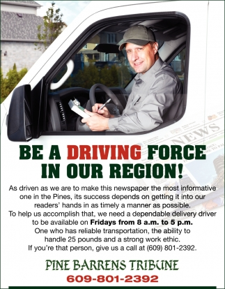 Be A Driving Force In Our Region!