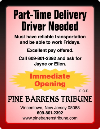 Part-Time Delivery Driver Needed