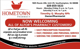 Now Welcoming All Of Alfor's Pharmacy Customers!