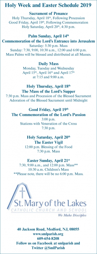 Holy Week And Easter Schedule 2019